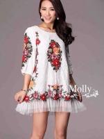 Floral Embroidery Dress เดรสลูกไม้ซีทรู ปักลายดอกไม้ ดำ/ครีมขาว