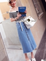 Seoul Secret Wipe Stripty Knit Denim Bottle Skirt Set