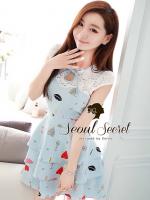 Seoul Secret เดรสสีฟ้า ลายพิมพ์น่ารัก แต่งผ้าลูกไม้ช่วงอก