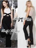 Lady Ribbon Elegant Minimal Chic Style Cut-Out Jumpsuit