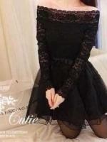 Black Organza Lace Dress เดรสเปิดไหล่ สีดำ