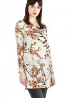 ASOS เสื้อตัวยาว คอปาด ผ้าพิมพ์ลายดอกเหมย ซิปหลัง