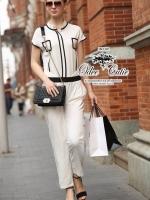 Chanel black&white line jumpsuit จั๊มสูทขายาว สีขาวดำ