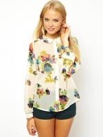 ZARA เสื้อ คอปกบัว ผ้าพิมพ์ลายดอก สีสดใส S,M,L