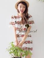 Seoul Secret ชุดเซ็ท เสื้อและกระโปรงผ้่าลูกไม้ลายดอกไม้ สีขาว สีดำ