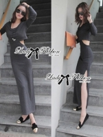 Lady Ribbon Sexy Jersey Cotton Maxi Dress