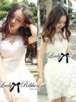 Luxury Lace Dress เดรสผ้าลูกไม้ ทรงคอปิด แต่งเพชรและมุก