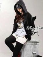 Lady Ribbon Wing Hood Outer เสื้อคลุมมีฮู้ด สีเทา-ดำ ติดปีกนางฟ้า