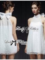 Lady Ribbon Dress เดรสผ้าชีฟองประดับมุกและโบด้านหลัง