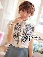 Lady Ribbon Embroidered Laser-Cut Shirt-Sleeved Shirt