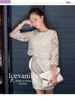 Icevanilla Luxury See-through White Lace Dress