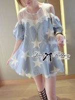 Lady Ribbon Beaded Star Cotton Dress