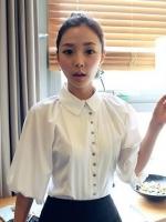 God is Girl เสื้อเชิ้ตสีขาว คอปก ผ้าฝ้ายเนื้อดี กระดุมหน้า