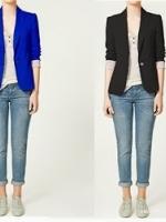 ZARA WOMAN Blazer สีน้ำเงิน แต่งซับในลายทาง (Size M)