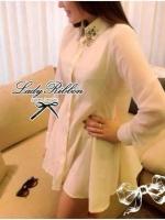 Lady Ribbon มินิเดรสทรงเชิ้ต ดีเทลปกแต่งเพชร