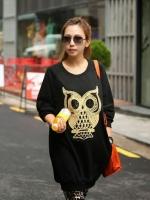 Cute Owl Tops เสื้อตัวยาวสีดำ แต่งเลื่อมรูปนกฮูก