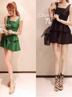 Partysu Layer Trim Dress เดรสแขนกุดกระโปรงระบายเป็นชั้นๆ