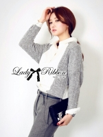 Lady Ribbon Casual Shirt เสื้อเชิ้ตแขนยาว ตัดต่อผ้าถักนิต