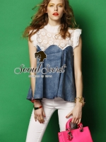 Seoul Secret Softly Denim Lace Blouse