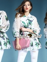 Seoul Secret Spring green Leaf Mini Dress Shirt