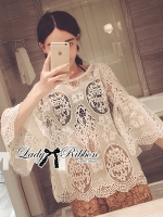 Lady Ribbon Sweet Vintage Flared Sleeve Lace Blouse