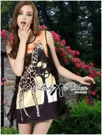 Lady Ribbon Dress เดรสพิมพ์ลายยีราฟสีสันสดใส