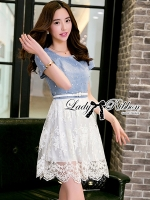 Lady Ribbon Twist Denim and Lace Dress with Belt