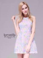 Ice Vanilla Sweet Pastel Floral Dress เดรสลายดอกไม้ สีพาสเทล