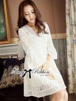 Lady Ribbon Classy Smocked Lace Dress