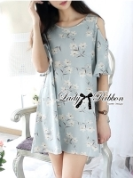 Lady Ribbon Cut-Out Floral Print Baby Blue Flared Dress