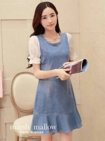 Marsh Mallow Flounced Chiffon Sleeve Denim Dress