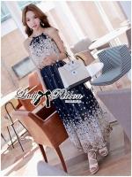 Lady Ribbon Maxi Dress เดรสยาวผูกคอพิมพ์ลายดอกไม้สไตล์เซ็กซี่