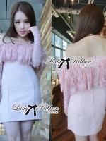 Lady Ribbon Dress เดรสเปิดไหล่ประดับขนนกสีชมพู