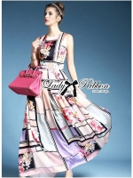 Lady Ribbon Orchid Printed Satin Long Dress with Daisy Belt