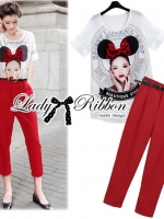 Lady Ribbon Girl Printed Top and Red Pants Set