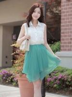 Cherry Dress เดรส ผ้าชีฟองเนื้อดี ตัดต่อสีทูโทน สีขาว-เขียว