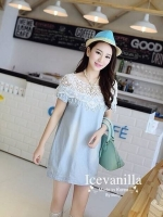 IceVanilla Mona Lace Stitch Soft Denim Dress