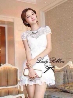 Lady Ribbon White Blossom Embroidery Gala Mini Dress
