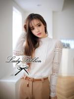 Lady Ribbon Lace Blouse เสื้อแขนยาวตัดต่อผ้าลูกไม้เนื้อดี สีขาว