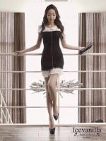 Icevanilla Luxury Pearl Dress มินิเดรสโทนสีขาวดำ แต่งมุกและจี้เพชร