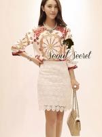Seoul Secret D&G Style Set ชุดเซ็ทเสื้อ กระโปรงผ้าลูกไม้