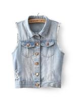 เสื้อกั๊กยีนส์สีฟ้า กระดุมหน้า กระเป๋าหน้า แต่งรอยขาดที่เสื้อ