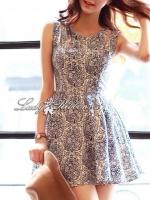 Lady Ribbon Floral Print Cut-Shoulder Mini Dress