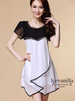 IceVanilla Chiffon Dress Stitching Irregular