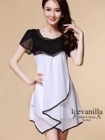 IceVanilla Chiffon Dress Stitching Irregular