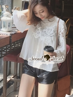 Seoul Secret Lovely Lace Chest Line Bolloon Blouse