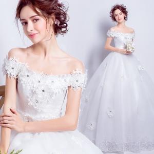 (พร้อมส่ง) ชุดแต่งงาน <ไหล่ปาด> รหัสสินค้า WDL0793 ไซส์ L , XL