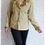 ca-2449 เสื้อโค้ทกันหนาวผ้ากำมะหยี่สีกากี รอบอก40 thumbnail 1