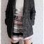 ((ขายแล้วครับ))((จองแล้วครับ))ca-2697 เสื้อโค้ทกันหนาวผ้าถักลายดำขาว รอบอก38 thumbnail 3