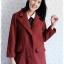 ((ขายแล้วครับ))((จองแล้วครับ))ca-2540 เสื้อโค้ทกันหนาวผ้าถักสีเลือดหมู รอบอก38 thumbnail 1